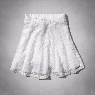 Abercrombie anf natural waist lace skater skirt 短裙