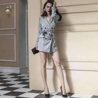 🚚 格紋連身褲裙