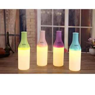 USB Mini Bottle LED lamp Humidifier, Air Purifier Essential Oil Diffuser Aroma Mist Maker for Home,office,Car,Traveland anywhere Purple, green, blue and pink
