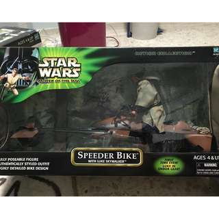 "STAR WARS 12 INCH ""LUKE SKYWALKER IN ENDOR GEAR ON SPEEDER BIKE "" POWER OF THE JEDI"