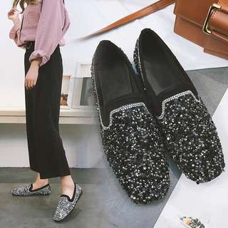 (36~40) European station Peas shoes female 2018 new full diamond square flat sequins social shoes lazy shoes