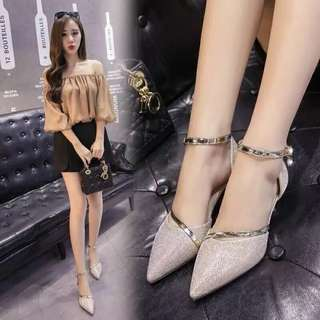 New Korean pointed shoes with hollow sandals female with single shoes with a buckle with low-heeled silver high-heeled shoes