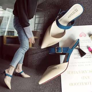 Female sandals summer 2018 new Korean version of the wear tip with thick with half drag female baotou heels wild shoes