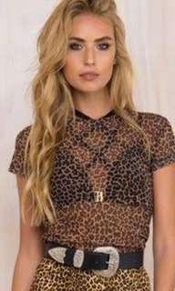 Motel - leopard print mesh tee