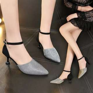 High heels female bright silk suede word buckle fine with women's shoes single shoes wild sandals