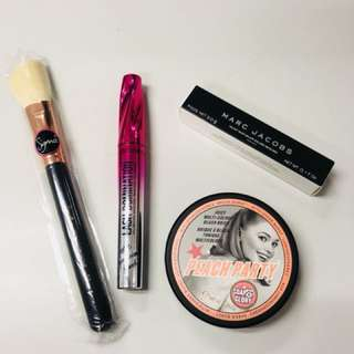 Marc Jacobs & Bare Minerals mascara, Soap&Glory bronzer, Sigma contour brush