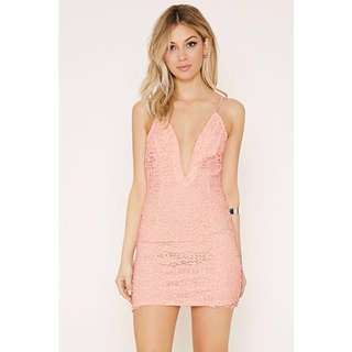 Knit Crochet Deep V Cami Spag Dress in Pink by Forever 21