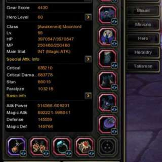 Dragon Nest Account MoonLord Full Calypse