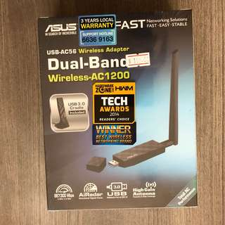 ASUS USB-AC56 DUAL BAND WIRELESS AC1200 USB 3.0 WiFi ADAPTER WITH USB 3.0 CRADLE