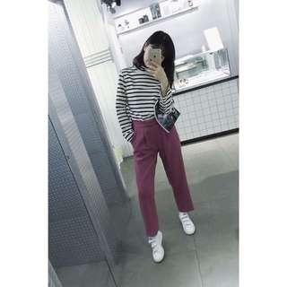 Room4莓果色微寬褲