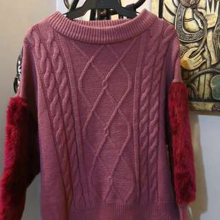 Pink Knit Winter Sweater