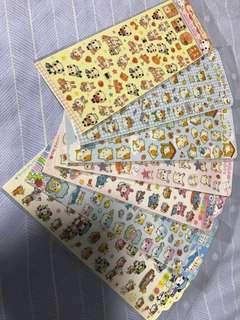 日本貼紙 倉鼠 兔仔 海豚 熊貓