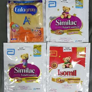 Abbott n Mead Johnson Milk Powder travel sachets packets for holidays Enfagrow stage3 Similac Total Comfort Stage 2,3 and Isomil stage2