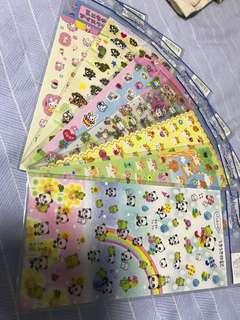 日本貼紙 倉鼠 熊貓 兔仔 狸貓