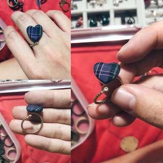 Korean Silk Purple Heart Ring