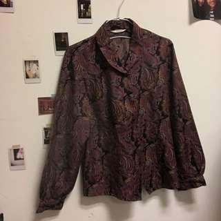 🚚 Vintage古著復古紫紅花紋襯衫