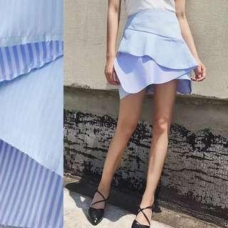 ZaRaa Inspired ruffle trim slope detail skirt