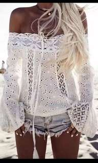 Off Shoulder Bohemian Cotton Blouse