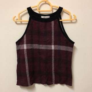 crop flannel halter top