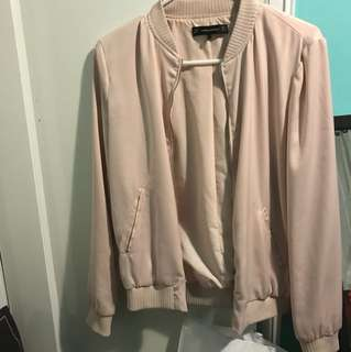 Zara Nude pink bomber jacket