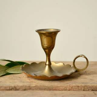 Vintage Brass Petite Candle Holder with Finger Hole