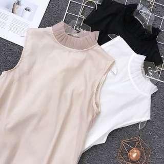 ⏳ (More cols) Dual tonal frills collar Vest / top