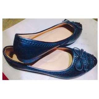 Sunwin Point Toe Low heel Black Flat Shoes