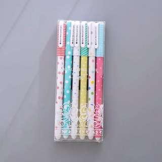 Cute pens set of 6 dotted kawaii Patel