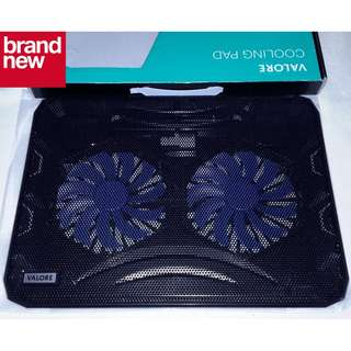 (Brand New) Valore Dual 140mm 1200RPM Fan Gaming Laptop Cooling Pad [14-inch] with Blue LEDs - $17