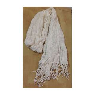 Women's White Cream Light Mesh Knit Scarf