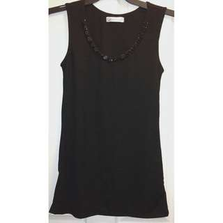 Women's Black Sleeveless Embellished Black Glitter Stone Collar Top [AU8]