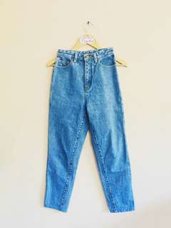 Mid-Blue High-waisted Mom Jeans