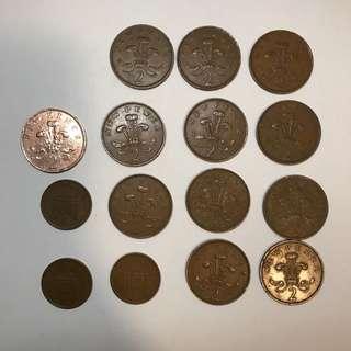 銅製女皇硬幣 紅銅高含量銅質硬幣 2 pence   1pence