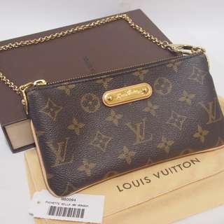 絕版 LV Louis Vuitton Pochette Milla MM Monogram M60094 經典格紋小鍊包