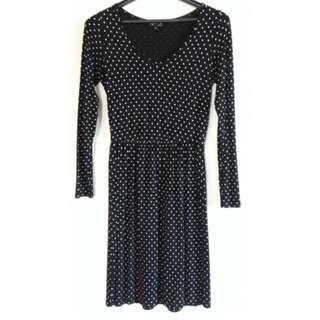 Agnes b黑底白點經典洋裝