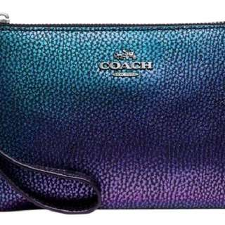 Coach hologram leather wristlet corner zip LE