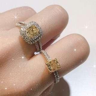 黃鑽石戒指 yellow Fancy