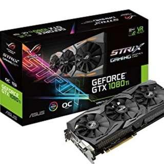 ROG Strix GeForce® GTX 1080 Ti OC edition 11GB GDDR5X with Aura Sync RGB for best VR & 4K gaming