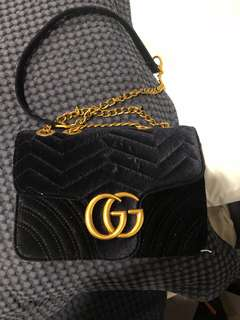 Gucci velvet clutch bag