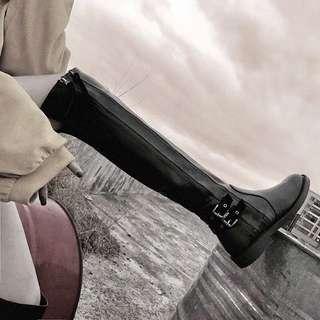 高筒百搭皮過膝靴