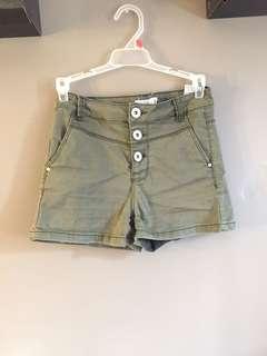 Green high waisted shorts