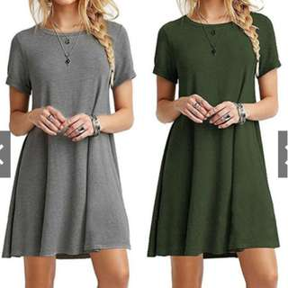 Women Short Sleeve Loose Mini Party Cockail Beach Dress