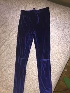 Blue velvet tights with knee cut outs