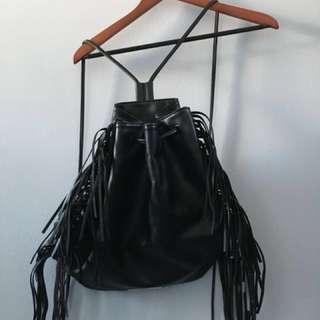 Victoria's Secret black leather fringe bag