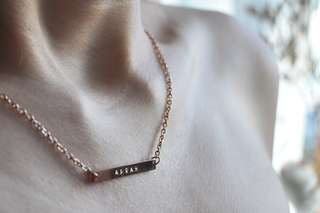 Hand-stamped Horizontal Skinny Bar   Lacie Necklace