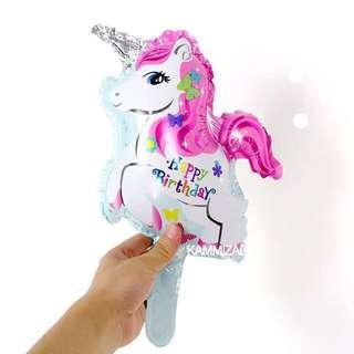 Happy Birthday Unicorn Balloon; bday birth day; Pegasus horse my little pony; foil party theme decorations; girls unisex; instocks; no helium