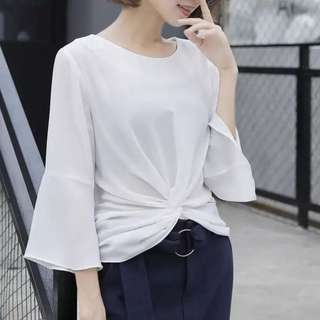 INSTOCK Soft Trumpet Flare Cuff Detail Blouse