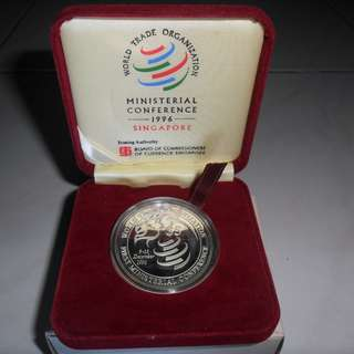 1996 Singapore WTO Ministerial Conference of $5 Silver Proof Coin