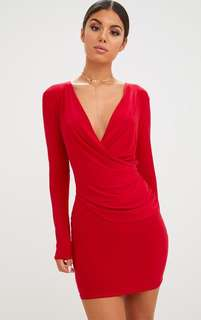 Red Slinky Wrap Over Bodycon Dress