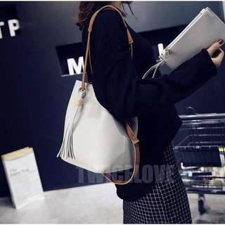 2pcs Women sling bag leather ready stock tote bag plus small make up bag